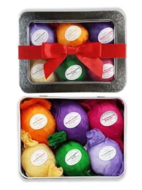 Handmade organic bath bombs are the perfect gift to pamper any stressed out lady!