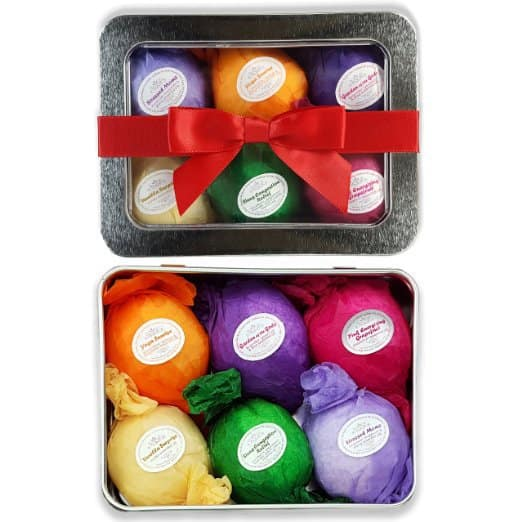 Delightful all natural, organic bath bombs are a thoughtful gift for any stressed out new mom!