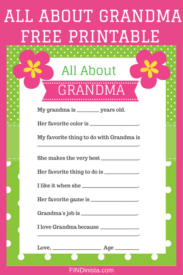 Looking for a cute and easy Mother's Day gift for the grandkids to give Grandma?  Cute All About Grandma questionnaire is a fun little Mother's Day craft for kids or toddlers!  #mothersdaycraft #mothersday #mothersdaygift #grandmalife