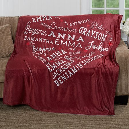 Gifts for Mom from Daughter - Keep Mom snuggly warm all winter long with this beautiful blanket that's personalized with up to 21 names.