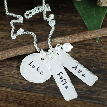 Hand Stamped Charm Necklace with BIrthstones