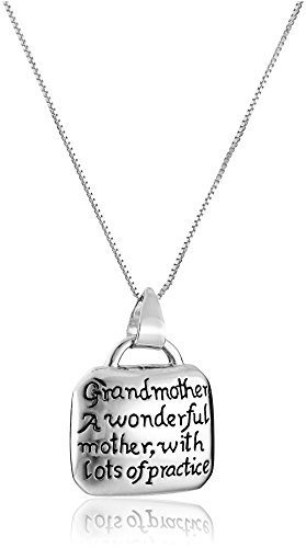 """""""Grandmother A Wonderful Mother with Lots of Practice"""" Necklace"""