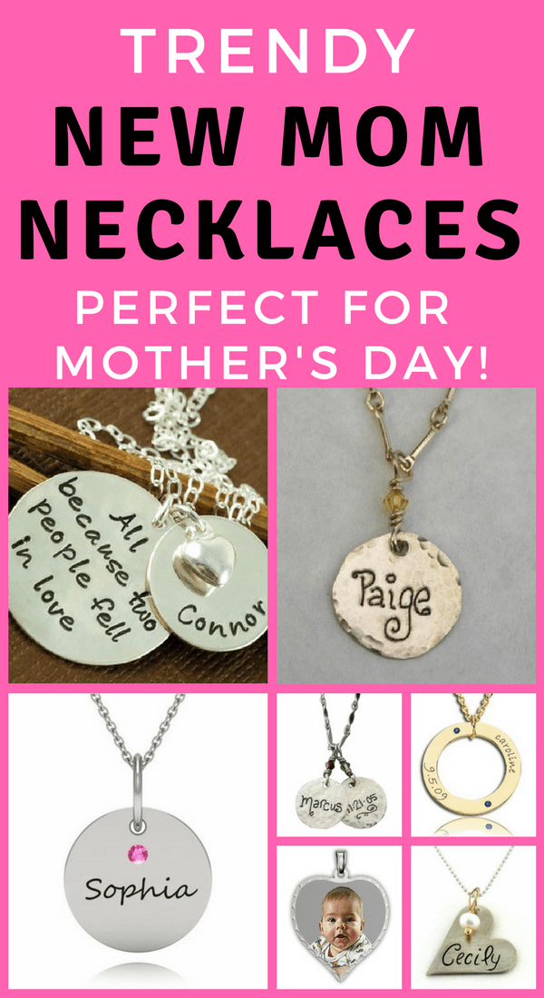 New Mom Necklaces - Looking for trendy baby name necklaces for a new mommy?  Click to see 35 necklaces with baby's name or birthstone that new moms adore! Fabulous first Mother's Day gift or push present. #mothersjewelry #newmom