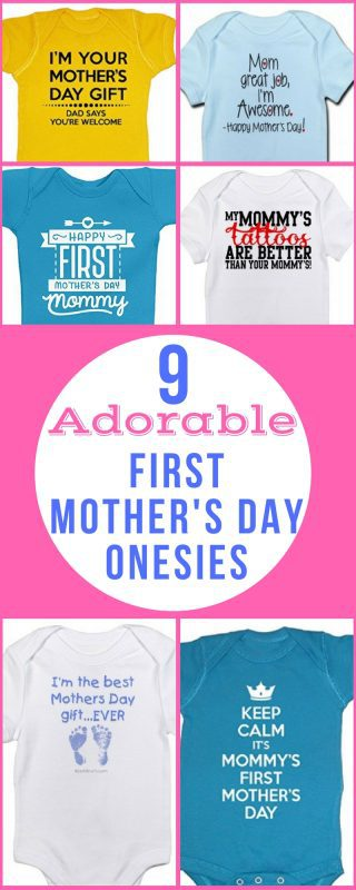 First Mother's Day Baby Onesies - Make the new mom (and everyone else!) laugh when you deck the baby out with one of these adorable first Mother's Day baby onesies.