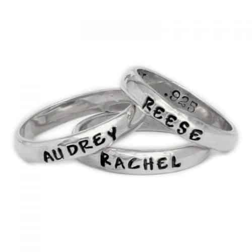 First Mother's Day Jewelry Gifts - Trendy stackable name ring is perfect for new moms!
