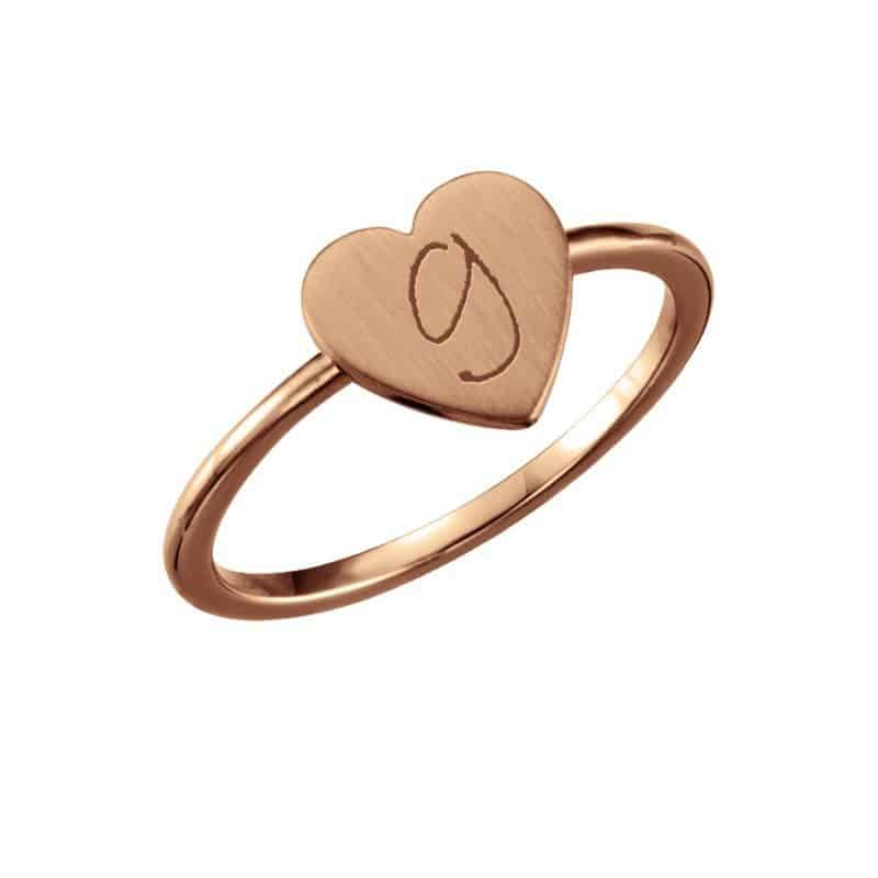 Stackable Heart Initial Ring - Silver, Gold or Rose Gold