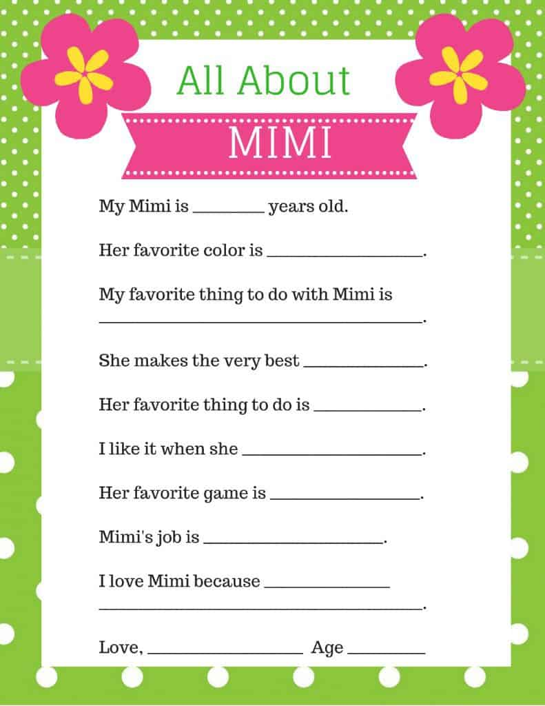 All About Mimi Free Mother's Day Printables - Looking for a cute and easy Mother's Day craft for the kids to make Mimi?  Cute fill-in-the-blank All About Mimi free printable is easy and fun for preschoolers and your kids.  #mothersdaycraft #mothersday