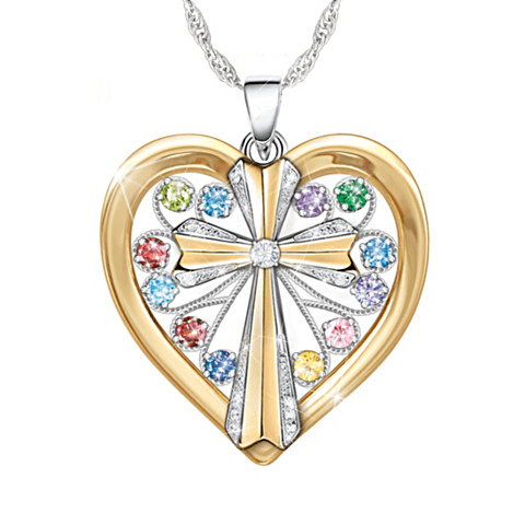 Celebrate Mom's love of her family and her strong faith in one beautiful necklace! Add up to 12 birthstones to create a custom Mother's Day gift that she'll treasure wearing for a lifetime!