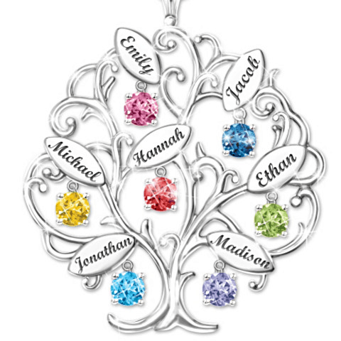 Mothers Necklace with Names - Thrill Mom, Grandma or your wife this year with this sparkling family tree birthstone necklace with up to 7 names!  An heirloom piece of jewelry that she'll treasure forever!