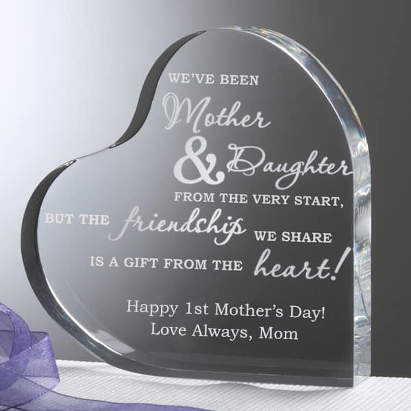 Mothers Day Gifts for Daughters -  Let your daughter know how much you treasure your relationship with this sentimental heart keepsake.  It's a Mother's Day gift she'll treasure forever!