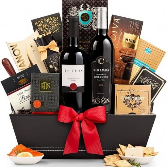 Wine Gift Basket - Silky Cabernet and old-vine zinfandel are paired with epicurean fare to create a celebration at any address, including 5th Avenue.