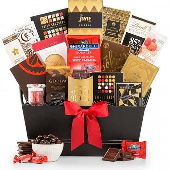 Gourmet Gift Basket - Send your very best wishes with this distinctive, elegant gift basket filled with luxury sweets and savory fare.