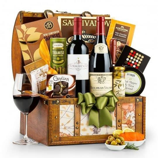 Wine Gift Baskets - Impress someone special with this elegant wine gift basket. They'll love the decadent goodies inside, and the map-themed chest will be useful long after the treats are devoured.