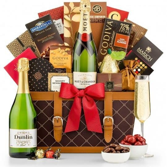 Champagne Gift Basket - Send someone special your best wishes. Elegant champagne and chocolate gift baskets is sure to impress!