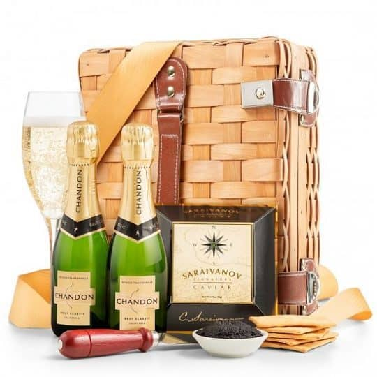 Champagne and caviar gift basket - Celebrate an important occasion in style with this elegant champagne & caviar gift basket. Perfect for a romantic Valentine's Day or anniversary celebration....or to reward a promotion or new job!