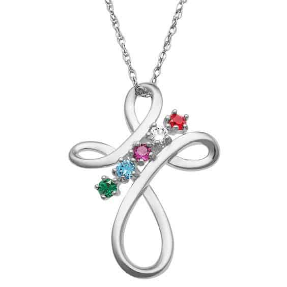 Sterling Silver Cross Necklace with Birthstones