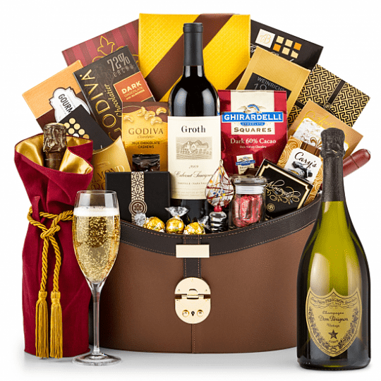 Dom Perignon Gift Basket - Pamper someone special who deserves the best! Elegant Dom Perignon is the perfect opulent gift basket for a memorable celebration!