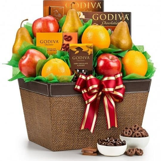 Fruit and Chocolate gift basket - Delightful fruit basket featuring Godiva chocolates is the perfect blend of healthy snacks and decadent treats.