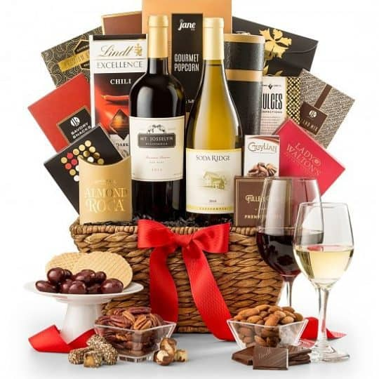 Wine Gift Basket - Impress someone special with this elegant gift basket that features 2 luscious California wines and a decadent selection of sweets and savories.